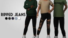 Ripped JeansI made some jeans to go along with the shorter tee's I made. There's 3 versions. Toddler Cc Sims 4, Sims 4 Toddler Clothes, Sims 4 Cc Kids Clothing, Sims 4 Mods Clothes, Toddler Outfits, Kids Outfits, Toddler Stuff, Toddler Girls, Stylish Outfits