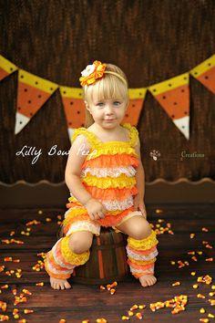 3bd12cae7f7e Candy Corn Romper-Halloween Romper-Lace Petti Romper-Baby Girl  Clothes-Halloween