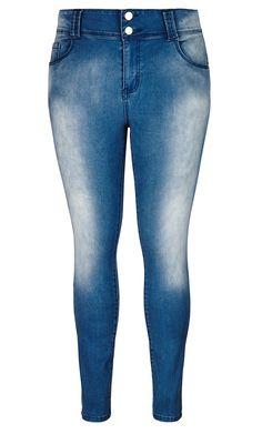 City Chic - APPLE SKINNY JEAN REGULAR LIGHTWASH  - Women's Plus Size Fashion City Chic - City Chic Your Leading Plus Size Fashion Destination #citychic #citychiconline #newarrivals #plussize #plusfashion #denim #jeans #tdf