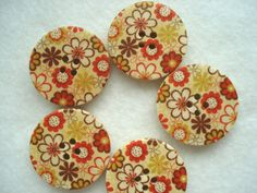 5 x 30mm Large Wooden Painted Button with by berrynicecrafts, £1.00