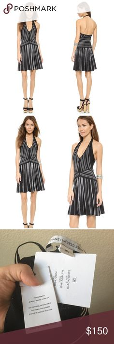 """Diane von Furstenberg B&W Adalyn Halter Dress Raised stripes create a cool linear effect on this fit and flare DVF DRESS. Thick halter strap. Unlined. Some minimal store wear. Gorgeous for a cruise or a summer vacation. Ribbed, mid-weight jersey. Approx 35"""" length. Rayon, poly, spandex. Size M/L. Offers welcome through offer tab. No trades. 10414171201 Diane von Furstenberg Dresses Mini"""