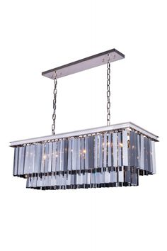 """Sydney Pendent Lamp D:14"""" H:18"""" Lt: Polished nickel Finish (Royal Cut Silver Shade. Crystal bars in clear or rich and vibrant hues of gold or silver exploding with prisms layered in circular or rectangular shapes. The Sydney will satisfy your desire to hold the past and embrace the future at the same time.Specifications:   Dimensions 40"""" L x 14"""" W x 18"""" H   Finish Polished nickel    Crystal Trim  Royal Cut    Crystal Color  Silver Shade (Grey)    Chain/Wire Included  5 ft./8 ft.    Light…"""