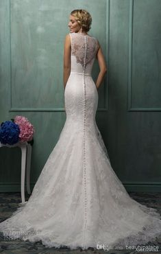 Amelia Sposa Vintage Lace Mermaid Trumpet Fit and Flare Tulle Elegant Bridal Gown Bridal Gowns Wedding Dress Wedding Dresses 2013 2014 ivory John's pick