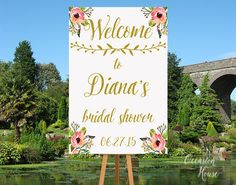 Bridal Shower Welcome Sign, Bridal shower sign, Gold and Blush decorations, Custom Bridal shower sign, Printable, Shower decor, BSWS01 by OccasionHouse on Etsy