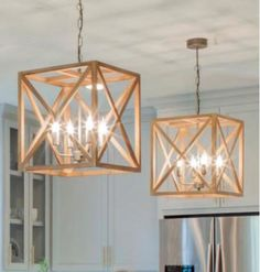 This square wood and metal chandelier will add a contemporary flair to your dining room, living room or kitchen. Measuring 15-3/4 inch wide x 17-3/4 inch high, each of the 4 bulbs takes one 25 watt bu