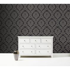 Arthouse Wallpaper Opera Da Vinci Damask Textured Black 405107