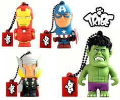 """""""The new Tribe USB flash drives collection dedicated to Marvel's superheroes includes five of the most famous Marvel characters: Captain America, The Hulk, Iron Man, Spiderman and Thor. All USB flash drives have an 8 GB memory capacity, are provided with key chain and crafted in soft rubber."""" Buy 2 save 10% on these great Tribe USB sticks – Offer Valid only until September 28th."""