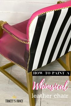 Got a boring leather office chair that needs a makeover? Click over to the blog to learn how to paint leather that doesn't crack or feel crunchy! Tracey Bellion #traceysfancy Tracey's Fancy Leather Accent Chair Paint Leather Whimsical Furniture Black And White Stripes Pink Furniture Pink Chair Gold Furniture How To Paint Leather Furniture Painted Leather Chalk Painted Chairs Ideas Leather Furniture Repair Pink Furniture, Painted Furniture, Refinished Furniture, Leather Furniture Repair, Paint Leather, Chalk Paint Chairs, Painted Stools, Paint Stripes, Furniture Inspiration