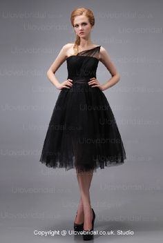 Short Tulle Black One Strap Tea Length In Low Price Prom Dress
