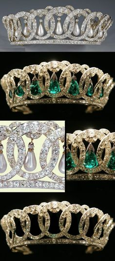 "The Vladimir Tiara, Russia, c.1890 Made for Grand Duchess Vladimir, aunt of the last Russian Tsar Nicholas II. Smuggled out of Russia during the Revolution by a British diplomat, sold in 1921 by the Grand Duchess's daughter, Princess Nicholas of Greece, to Queen Mary, who adapted it to take 15 of the Cambridge emeralds as an alternative to the original pearls. It can also be worn ""widowed"" - without either. The tiara was inherited by The Queen from her grandmother Queen Mary in 1953."