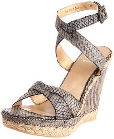 Stuart Weitzman Women's Gothru Wedge Sandal,Pepper Wood Snake,10.5 M US * Click image to review more details.