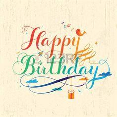színes happy birthday kalligráfia design szép stílusban Stock fotó