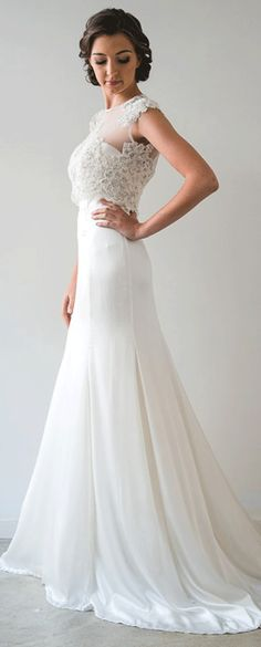 $120.49-Elegant Sheath Sleeveless High Neck Long Satin Chiffon Wedding Dress. http://www.ucenterdress.com/sheath-sleeveless-high-neck-long-satin-chiffon-wedding-dress-with-appliques-and-court-train-pMK_705350.html.  Buy best wedding dresses, Lace wedding dress, modest wedding dress, strapless wedding dress, backless wedding dress, wedding dress with sleeves, mermaid wedding dress, plus size wedding dress, We have great 2016 fall Wedding Dresses on sale at #UCenterDress.com today!