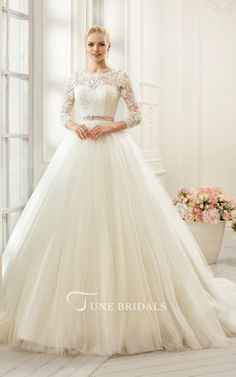 Ball Gown Long Bateau Long-Sleeve Deep-V-Back Tulle Lace Dress With f14ba8955d8