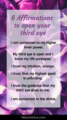 Healing Affirmations, Positive Affirmations Quotes, Morning Affirmations, Affirmation Quotes, 6 Chakra, 3rd Eye Chakra, Chakra Healing, Third Eye Awakening, Spiritual Awakening