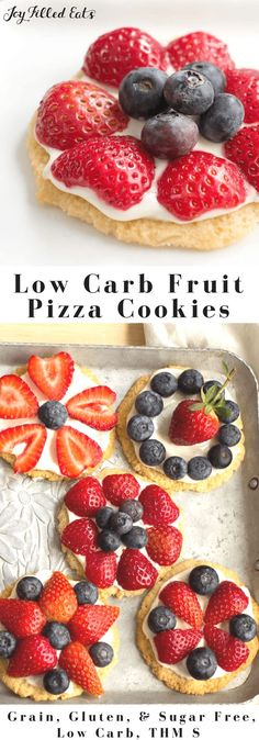 Healthy Fruit Pizza Cookies - Low Carb, Grain Gluten Sugar Free, THM S, Keto - My Mini Fruit Pizza Cookies are as tasty as they are pretty. With a shortbread crust, cream cheese icing, & fresh berries they are a perfect dessert.