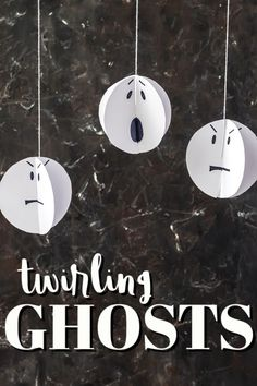Twirling paper ghosts can be completed in less than 20 minutes and kids can do all the steps. Great for Halloween decorating! #paper #papercrafts #constructionpaper #ghosts #halloween #halloweendecor #kidscrafts #craftsbyamanda