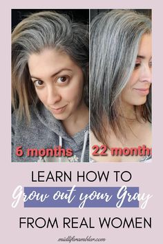 Learn How to Grow Out Your Gray From Real Women | Thinking of going gray? These women are sharing their journey with growing in their gray and growing out their hair dye and showing us all how to go gray gracefully. They'll inspire you to ditch your hair dye and let your gray grow in too, I promise! Blonde Hair Going Grey, Grey Hair Over 50, Grey Hair Dye, Dark Hair, Gray Hair Growing Out, Dying Your Hair, Grow Hair, Grey Hair Styles For Women, Gray Hair Women