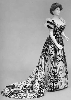 black and white gown 1885 charles worth