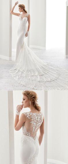Glamorous Tulle & Chiffon Bateau Neckline Mermaid Wedding Dresses With Beaded Lace Appliques