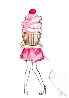New Birthday Design Illustration Heart Ideas Watercolor Fashion, Watercolor And Ink, Watercolor Illustration, Digital Illustration, Cupcake Drawing, Cupcake Art, Birthday Images, Birthday Cards, Cupcake Illustration