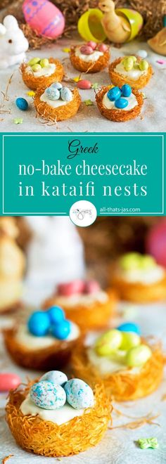 """Fun and adorable, these no-bake cheesecakes in kataifi nests topped with robin's """"eggs"""" make a delightful Easter and spring treat.   allthatsjas.com   #Easter #nobakecheesecake #ad #sponsored #cheesecake #kataifi #kadaifi #kanafeh #dough #treat #dessert #spring #nests #fun #delicious #cute #easy"""