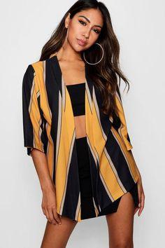 79fd11ba406 Bold Stripe Kimono - boohoo, fashion, fall fashion, outfits, what to wear
