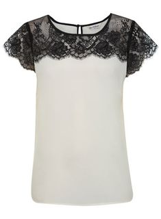 Nice idea - add wide lace to a top - could make sleeves longer if lace is wide enough