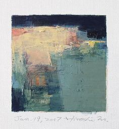 Jan. 19, 2017 - Original Abstract Oil Painting - 9x9 painting (9 x 9 cm - app. 4 x 4 inch) with 8 x 10 inch mat by hiroshimatsumoto