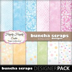 """Buncha Scraps """"Hippity Hoppity"""" Digital Paper Collection for all your Easter/Spring Paper Crafting projects"""