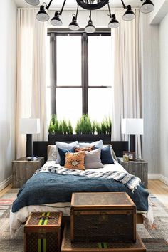 drapes to the ceiling. eclectic masculine vibes.. – Greige Design