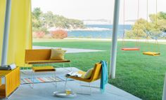 Image - Mex is a serie of outdoor furniture made with a special treated rope. The structure is designed to receive the rope and could remains some reels principle. Furnishings, Yellow Outdoor Furniture, Furniture Collection, Outdoor Chairs, Furniture, Interior, Objects Design, Home Decor, Furniture Making