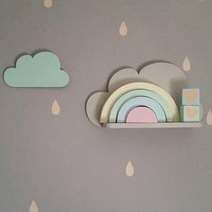 CLOUD SHELFIES WILL BE BACK IN STOCK IN 2 WEEKS.Set of 2 cloud shelfies are a great addition to the nursery and kid's room. Each set includes 2 shelfies, wall hooks and one hanging cloud. Cloud shape is made of plywood, shelf of pine wood.Dimensions:cloud shape: 38cm x 21cmshelf: 29,5cm x 8cmThey are painted to the order. Please choose your colours and leave a note.Colours: white, black, plain wood, baby pink, pink, mint green, blue, light grey, dark grey, dark blue, peach, yellow.Turnrou...