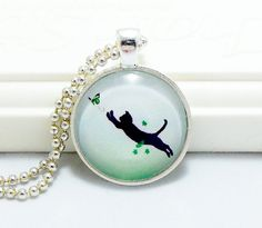 Leaping Cat Pendant Cat Jewelry Cat Necklace by CatsEyeOriginals, $10.00