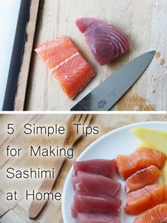 Tips for preparing sashimi (or fish for sushi) at home. How to pick, clean, cut, and serve fish for sushi.