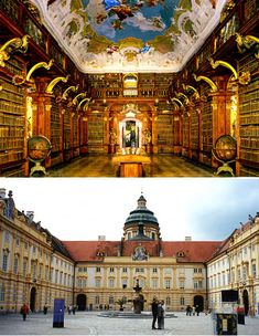 Melk Monastery Library, Melk, Austria - Stick a big old leather chair and a footstool under that amazing ceiling, and don't disturb me until it's time for dinner.