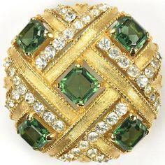 Boucher Gold and Peridot Checkerboard Button Pin
