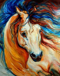 M BALDWIN ORIGINAL OIL PAINTING BRONCO MUSTANG BUCKSKIN HORSE ~ MARCIA BALDWIN Copyright 2014, M Baldwin Fine Art ~ Please do not copy ~ Thank you ~ Buy the Original !!