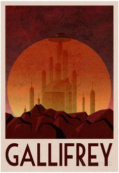 Gallifrey Retro Travel Poster Affisch