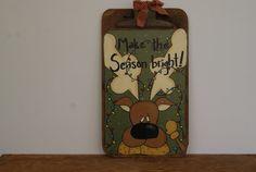 Reindeer Clipboard  Hand Painted Vintage Clipboard  by Ramshackles