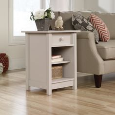 Have to have it. Sauder Original Cottage 1-Drawer Side Table - $78.96 @hayneedle - inexpensive fix for guest room night stands