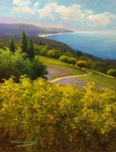"""Coastal View"" 40 ""x30"" Unframed Size Oil On Canvas by Gerhard Nesvadba"