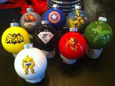 Superhero Christmas Ornaments. Easy to make and they look great! (great idea for male teachers or the man in your life!)
