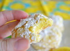 Lemon Crinkle Cookies ~ 1 Box Lemon Cake Mix, 1 Egg, Lightly Beaten, 1 8-Ounce Container Cool Whip, Thawed, and 1/2 to 1 Cup Powdered Sugar