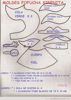 Patrones Fofuchas - Sirenita de goma-eva