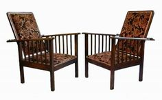 Pair of Arts and Crafts Morris Chairs reclining Armchairs