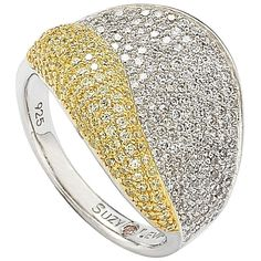 Suzy Levian Sterling Silver Cubic Zirconia Pave and White Curvy Ring