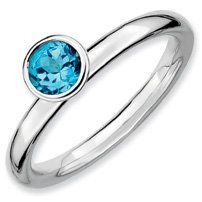 0.56ct Silver Stackable 5mm Round Blue Topaz Band. Sizes 5-10 Jewelry Pot. $26.99. 30 Day Money Back Guarantee. Fabulous Promotions and Discounts!. Your item will be shipped the same or next weekday!. All Genuine Diamonds, Gemstones, Materials, and Precious Metals. 100% Satisfaction Guarantee. Questions? Call 866-923-4446