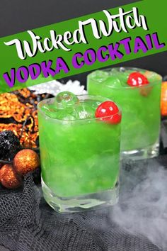 Conjure up this Wicked Witch Cocktail for your coven for Halloween and you'll be cackling with delight! Vodka, Midori, and Blue Curaçao go into this bright green concoction that is topped off with a cherry - it's wicked! #HalloweenCocktails #ThePurplePumpkinBlog Vodka Cocktails, Easy Cocktails, Cocktail Recipes, Midori Melon, Halloween Party Drinks, Purple Pumpkin, Freshly Squeezed Orange Juice, Lime Soda, Green Food Coloring