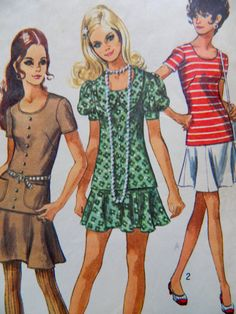 70 s 2-pc Mod Mini or Knee Length Dress Misses 16 b 38 w a64dea5cc9